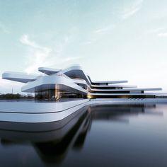 Concept / 687 By , … - Architecture Design Ideas Organic Architecture, Concept Architecture, Futuristic Architecture, Beautiful Architecture, Interior Architecture, Contemporary Interior Design, Modern House Design, Contemporary Architecture, Facade Design