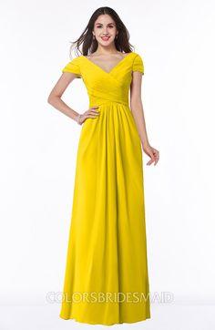 b5586d4bafe ColsBM Evie Glamorous A-line Short Sleeve Floor Length Ruching Plus Size Bridesmaid  Dresses