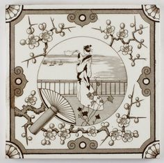 Antique Aesthetic movement Japanese Minton tile c.1895