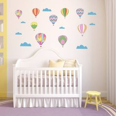 Our lovely Vintage Hot Air Balloon Wall Sticker set, along with clouds will look great on a young child's bedroom or nursery wall.These classic hot air .