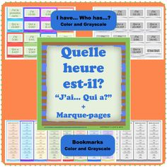$ Make your students practice telling the time in French by playing the game I have...Who has...? - J'ai... Qui a...?    It includes 24 cards and instructions on how to play the game.  As a bonus, you're also going to get bookmarks with examples on how to tell the time. Give them to your students at the end of the class.  The cards and the bookmarks come in both Grayscale and Color.