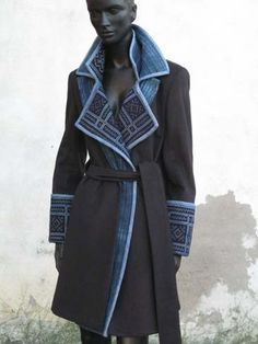 Indalia Fashion - Asian and Italian fabrics combined with Italian tailoring Bd Fashion, Fashion Fabric, Denim Fashion, Autumn Fashion, Fashion Outfits, Cocktail Attire, Fabric Combinations, Winter Chic, Recycled Fashion