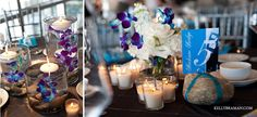 Blue orchid centerpiece with rocks