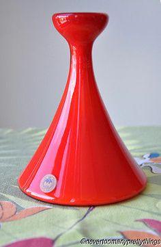 Vintage 1968 Holmegaard Carnaby Vase Label Red Opal Cased Glass per Lutken MCM | eBay