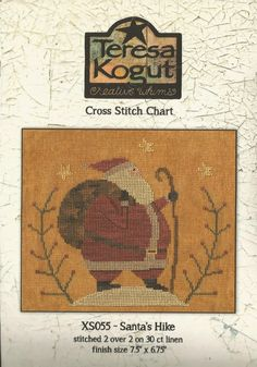 TERESA KOGUT - Santa's Hike - XS055 - Whimsical Cross Stitch Pattern by NeedleCaseGoodies on Etsy https://www.etsy.com/listing/228462486/teresa-kogut-santas-hike-xs055-whimsical