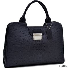 Dasein Ostrich and Croco Embossed Fusion Texture Buckled Satchel | Overstock.com Shopping - The Best Deals on Satchels