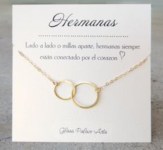 Items similar to Spanish Jewelry For Sister, Spanish Necklace For Sister, Espanol Interlocking Circle Infinity Necklace Hermanas Gift On Wedding Day Silver on Etsy Small Necklace, Circle Necklace, Gold Necklace, Necklaces, Infinity Jewelry, Infinity Necklace, Vintage Jewelry, Unique Jewelry, Hand Stamped Jewelry
