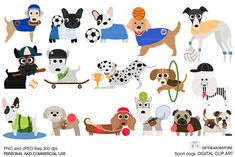 Not my listing, but, oh, so cute! Sport Dogs digital clip art by Giftseasonstore on Etsy.