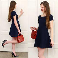 Ariadna Majewska - Blue Navy Dress, Romwe Vintage Red Leather Bag - Vintage