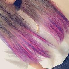 WEBSTA @ ism.hitomi - 毛先の色はピンクとパープルUltra仕様にして頂きました先輩方の技術の高さに感謝…めっちゃ可愛い!!!ありがとうございました#ultra仕様#ultrajapan#パリピ#グラデーション#メッシュ#ピンク#パープル#マニパニ#ヘアカラー#美容室#ISM