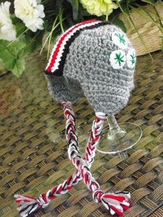 MIDWEST COLLEGE SCARLET & GREY HELMET HAT 12-18 MO by HotOffTheHookCrochet for $25.00