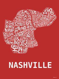 Nashville Neighborhood Map Red by thehoodshop on Etsy, $19.99