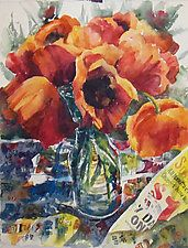 "Poppies, Paper and Paint by Terrece Beesley (Watercolor Painting) (21.5"" x 15.5"")"
