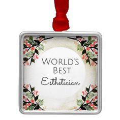World's Best Esthetician gift 2 Silver-Colored Square Ornament