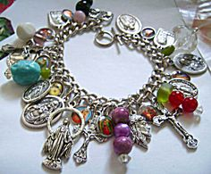 $75 LOADED Religious Charm Bracelet Saints Virgin Mary St Jude Padre Pio St Joseph, Holy family, Benedict and more. Catholic Christian Jewelry. One of a kind
