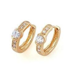 Ladies 22K Gold Plated Huggie Hoop Earrings w/ Cubic Zirconias. $14.00
