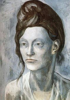 """Woman with Helmet of Hair"", 1904, Pablo Picasso #art #arthistory #history #picasso #pablopicasso #blueperiod #portrait #portraiture #faces"