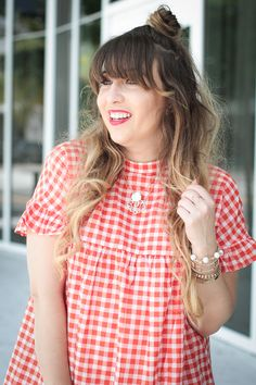 051f659a14 Miami fashion blogger Stephanie Pernas wearing a ruffle gingham dress for  summer