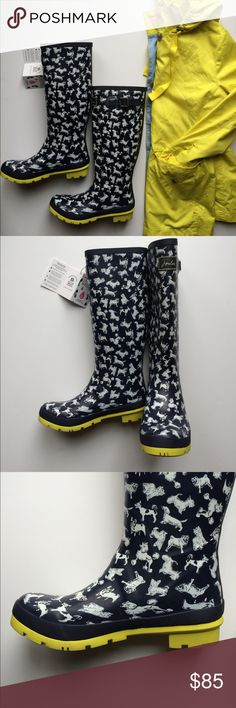 NWT Joules Wellies Rainboots New in Box NWT Joules Wellies Scribble Dog print rain boots new in box never worn! These were on my Christmas wish list and I absolutely adore them, but my calves are two big for them to fit properly  Life got in the way of returning them on time so hope to get these to someone who can splash in the puddles with them! ☔️ Joules Shoes Winter & Rain Boots