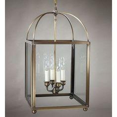 Northeast Lantern Chandelier 4 Light Foyer Pendant Finish: Dark Antique Brass, Glass Type: Seedy Marine