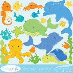 Sea creatures clipart for summer themed crafts, invitations, classroom materials and more.