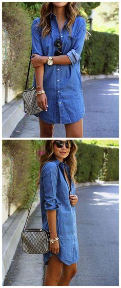 0ac76fc2a0 Women s Fashion Long Sleeve Solid Color Button down Mini Denim Shirt Dress  - AZBRO.com