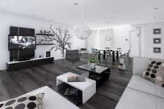 20 Wonderful Black and White Contemporary Living Room Designs --- LOVE the dark floor.....
