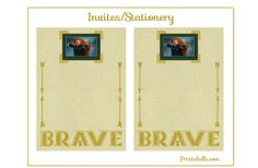 """Free """"Brave"""" Party Printable Stationery or Invitations"""