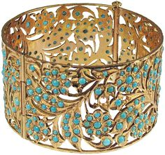 Ancient Persian 22kt Gold solid bracelet with open fretwork of a floral leaf design with turquoise beads; circa 200 B.C.E.