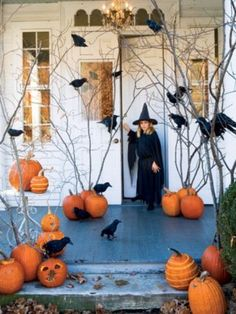 use pumpkins to hold barren branches and perch a few of these spooky black birds on them and around the entryway