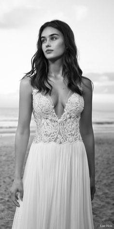 lihi hod bridal 2016 rose quartz wedding dress sleeveless illusion straps v…