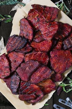 Traeger/ This homemade spicy venison jerky will make your mouth water for more. Smoky pepper and teriyaki jerky is a high protein snack that will last through hours of stalking your big game prey. Simple Beef Jerky Recipe, Venison Jerky Recipe, Teriyaki Beef Jerky, Jerky Recipes, Venison Recipes, Grilling Recipes, Spicy Jerky Recipe, Venison Steak, Homemade Jerky