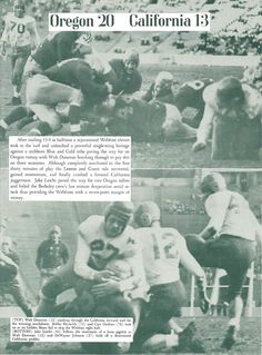 Recap of the 1945 Oregon - Cal football game. From the 1946 Oregana (University of Oregon yearbook). www.CampusAttic.com