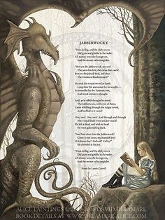The Jabberwocky Poem: Alice in Wonderland LARGE Giclée Art Print -David Delamare