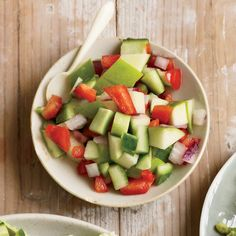 Apple-Cucumber Salsa | 15 minutes is all you need for this healthy, deliciously crunchy salsa.