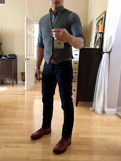 #menswear #mensstyle #mensfashion Gustin selvedge chambray  Jcrew wool waistcoat 1350 leather belt Gustin indigoxblack selvedge  Red Wing Beckman