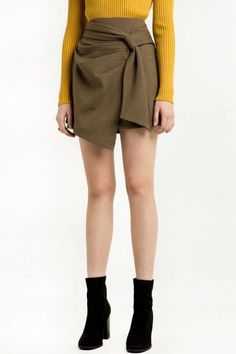 Khaki Plaid Pattern High Waist Zipper Back A Line Skirt | Psychedelic Monk