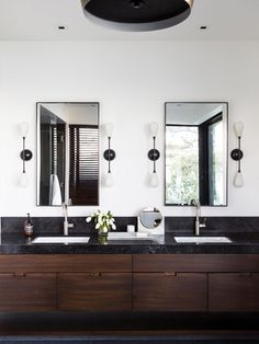 Modern bathroom with dark wood floating vanity Bathroom Trends, Bathroom Renovations, Bathroom Ideas, Bathroom Organization, Remodel Bathroom, Bathroom Layout, Bathroom Cleaning, Shower Ideas, Bad Inspiration