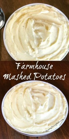 Easy, creamy Farmhouse Mashed Potatoes with butter, cream cheese and Greek yogurt
