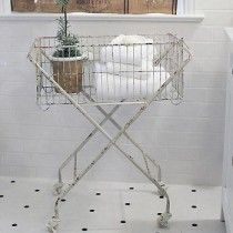 Metal Basket With Wheels | Wire Laundry Basket On Wheels | Rolling Laundry Cart