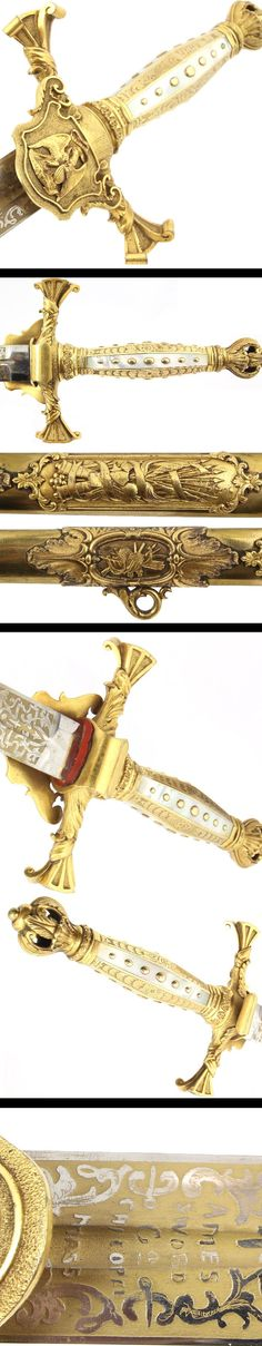 Important Ames General Officer style GOLD Blade.  GOLD WASHED BLADE with a white frosty Inscription: Col. A C. Woodworth Chicopee, Mass.   Manufactured: Chicopee, Mass  Maker: N.P.Ames / Ames Sword Co.  Year: Sword c1850 blade c1880  Model: Model of the 1840s  U.S.A.