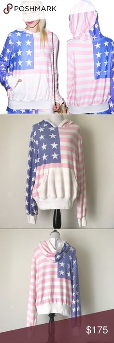 WILDFOX Rare Miss America Flag Hoodie Pullover M I'll be taking reasonable offers on this rare WILDFOX Miss America Hoodie.   This oversized hoodie is in good pre loved condition and pilling is by design and intentional. Perfect for the Wildfox friends looking for larger hoodies. Wildfox Tops Sweatshirts & Hoodies