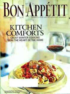 Buy and 3 and get 25% off. Bon Appetit Cooking Magazine, Kitchen Comforts, February 2003 Volume 48 Number 2