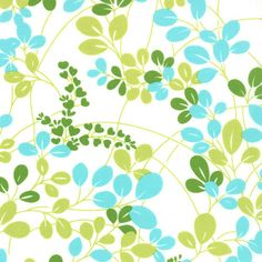 Simply Color -  Leaves Sprigs in White Aqua Lime by V & Co for Moda Fabrics