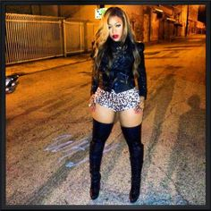 Want to be able to rock this outfit! just to say I did it....  thigh high boots, red lips