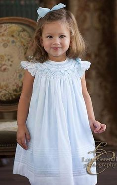 Will'Beth Smocked Dress in Blue With White Overlay