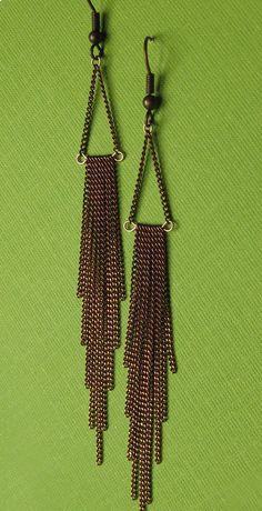 Long Copper Chain Fringe Earrings