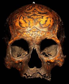DAYAK CARVED: HEAD HUNTING HUMAN TROPH SKULL #19  HAND CARVED HUMAN BONE AND SHELL  THE DAYAK TRIBE, FROM BORNEO ISLAND  INDONESIA, CARVE DESIGNS INTO THE SKULLS  OF THEIR HEADHUNTED VICTIMS AND INSERT WOODEN FIGURES.