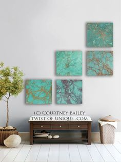 Large Abstract  Painting 3 square ORIGINAL Wall by TwistOfUnique,