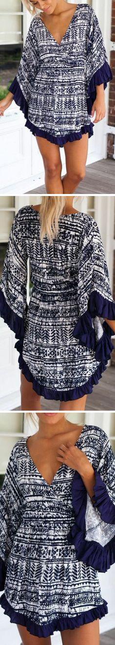 Women wearing #vintage #dress have a special charm. Vintage Stripe Tribal Print Flare Sleeve Dress